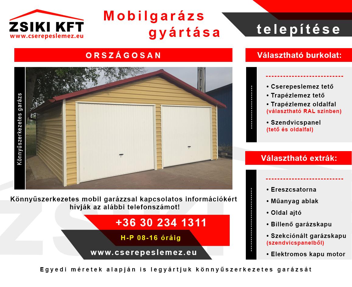 Könnyűszerkezetes mobil garázs gyártása, telepítése országosan
